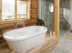 cabin bathroom white tub