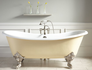 light yellow claw foot tub