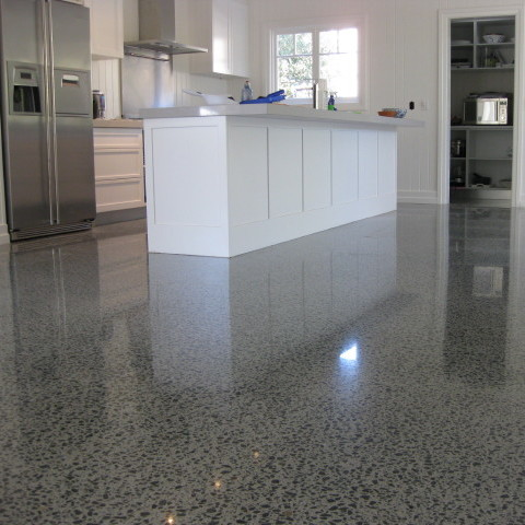 Kitchen-Flooring-Design-With-Stained-concrete-floors-Ideas-Suit-With-White-Freestanding-Kitchen-Islands-Table-With-Storage-finishing-concrete-floors