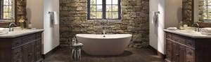 Rustic Bathroom Tub rock wall