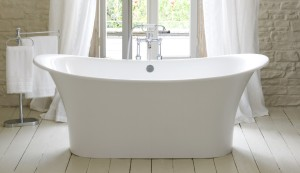 white-bathroom-curtain-idea-and-unique-stand-alone-bathtub-feat-movable-towel-rack-also-hardwood-floor-design