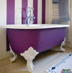 purple claw foot tub